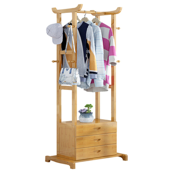 Simple clothes rack simple and modern clothes storage rack solid wood bedroom