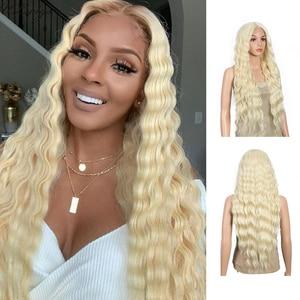 BELLA Blonde Wig Blonde Deep Wave Lace Front Wig Synthetic Hair Cosplay Synthetic Lace Front Wig 30 inch Wigs For Black Women