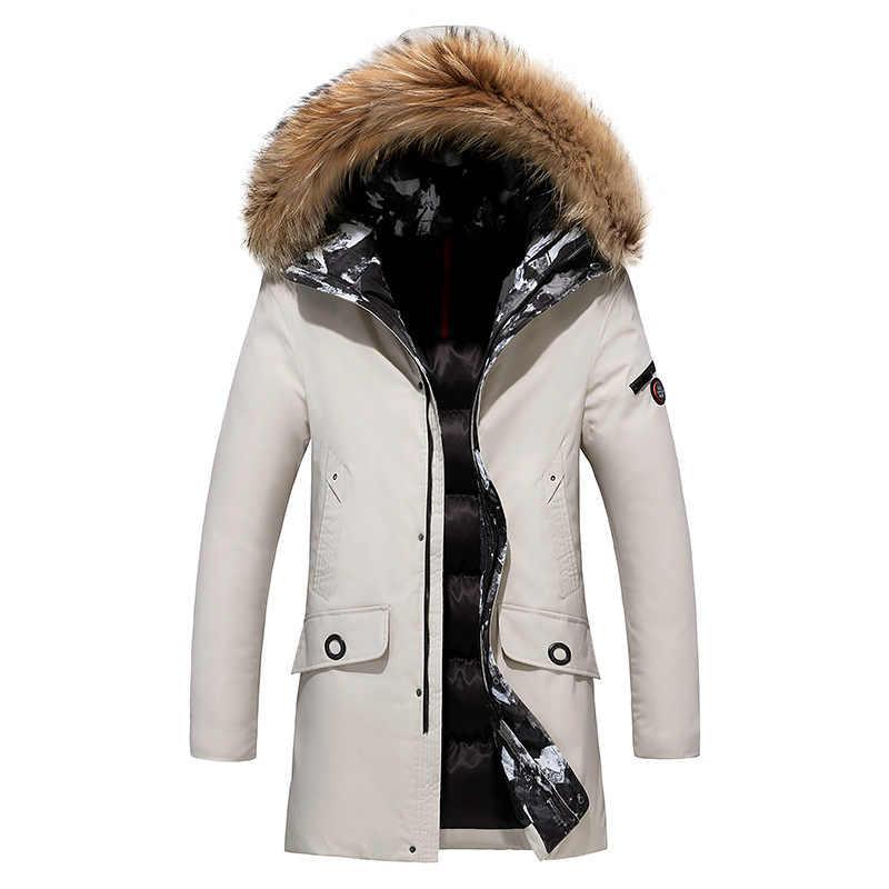 Disputent Мужская Толстая куртка с меховым воротником новая роскошная верхняя одежда водонепроницаемая парка пальто Мужская Плюс 8XL Мужская зимняя длинная деловая