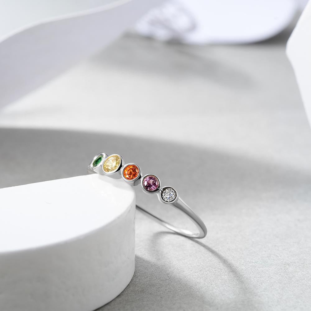 E Jewelry 925 Sterling Silver Rainbow Gemstones Ring for Women Colorful Wedding Engagement Rings for Girls 4