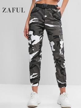 Zaful 2019 New Camouflage Women Causal Pants Autumn Straight Military Female Trousers Belted Pockets Loose Feminino Jogger Pants фото