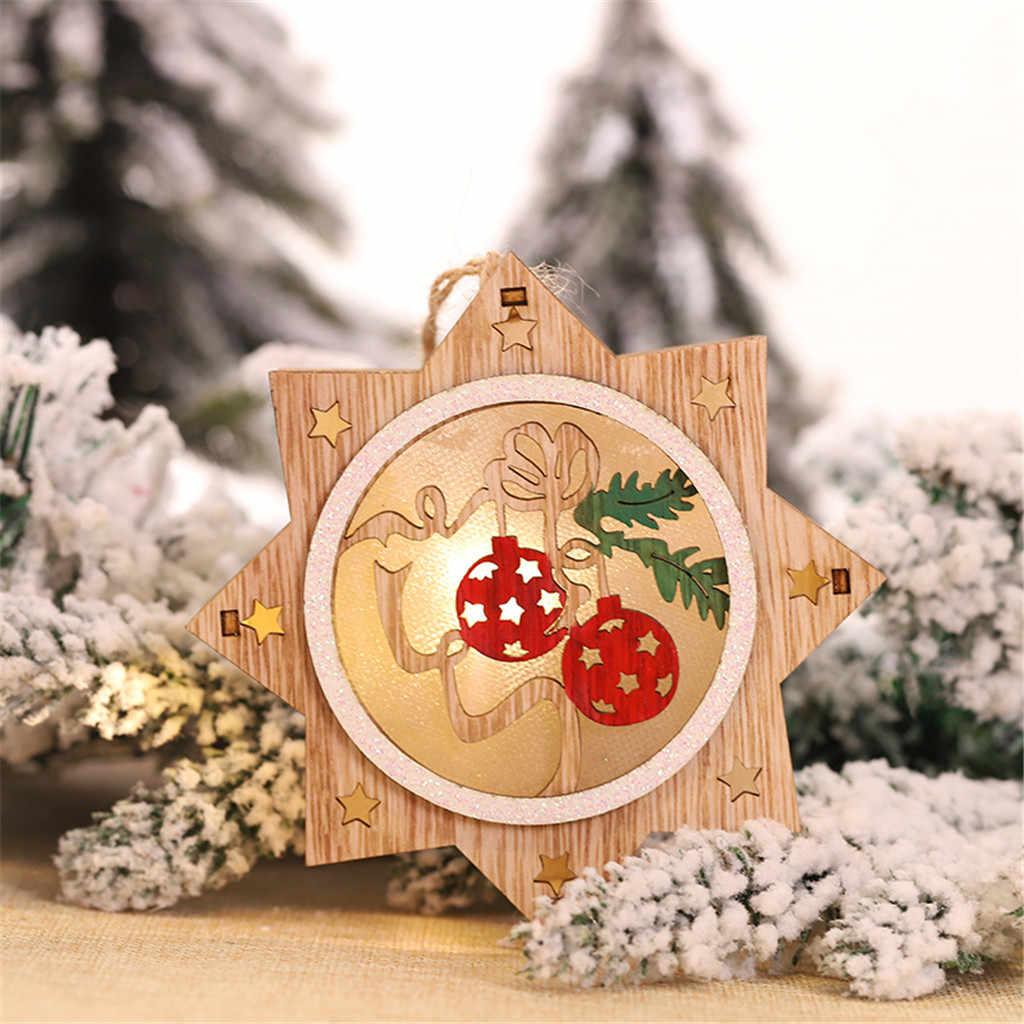 1 PC Decorações De Natal Para Casa Venda Quente do DIODO EMISSOR de Luz Luz Da Noite Do Presente Do Ano Novo 2020 Da Árvore de Natal Do Floco De Neve Pendurado ornamentos # S