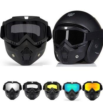 Motorcycle Glasses Motocross Motorbike Detachable Goggles UV Protection Ski Bike for Halley Open Face Helmet Mask MX ATV Moto