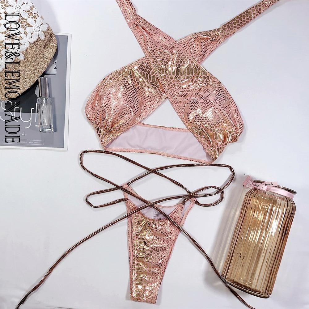 LOVE & LEMONADE Sexy Cross Straps High Slit Bikini LMSW100