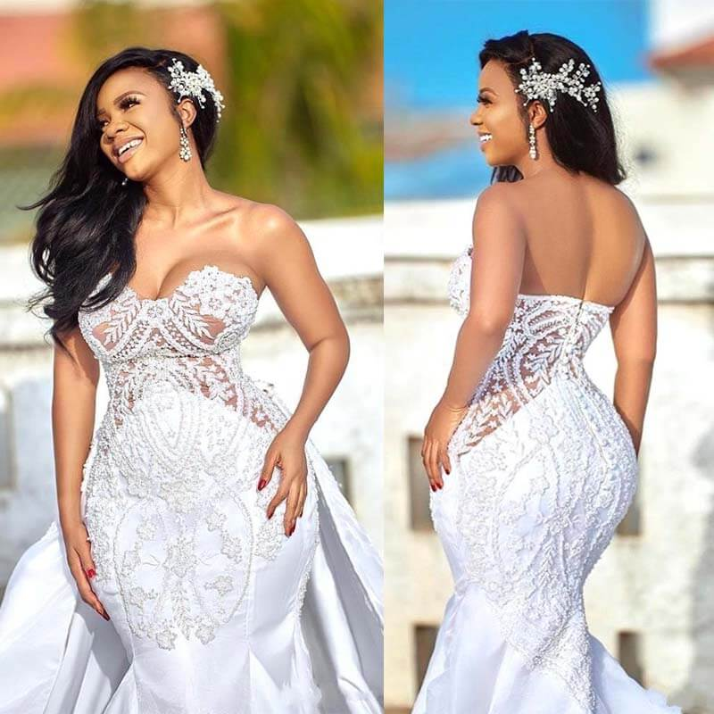 2020 African Plus Size Wedding Dress With Detachable Skirt Sweetheart Mermaid Wedding Gowns Appliqued Satin Bridal Dress