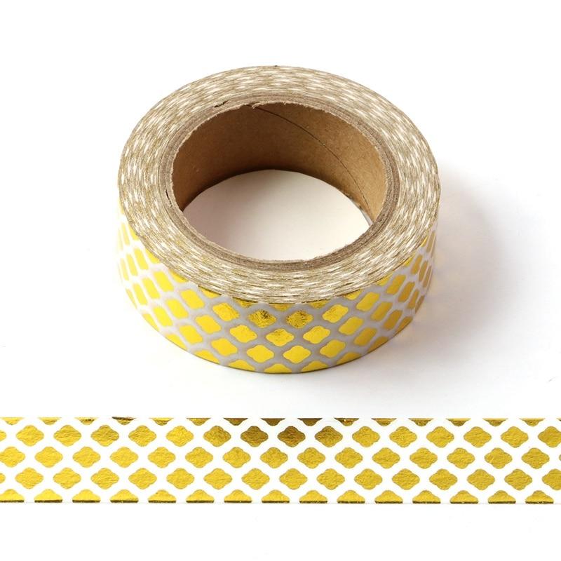 10M Cute Decorative Gold Foil Washi Tape Diamond DIY Scrapbooking Sticker Label Japanese Masking Tape School Office Supply
