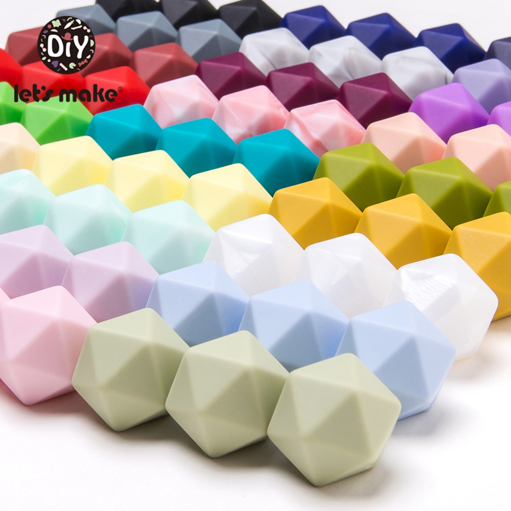 Let's Make 10pc 14mm Silicone Beads Hexagon Bpa Free Silicone Teether Diy Teething Toy Baby Chewable Accessories Baby Teether