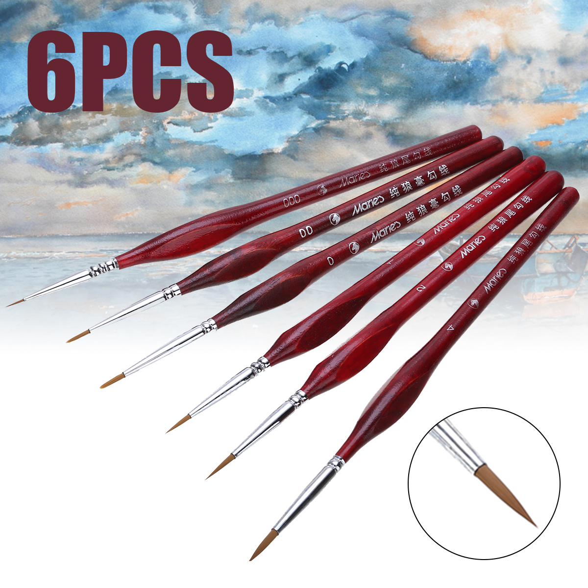6Pcs Paint Brush Set Extra Fine Detail Paint Brushes Artist Miniatures Model Maker Tool Set For Oil Painting Gouache Painting