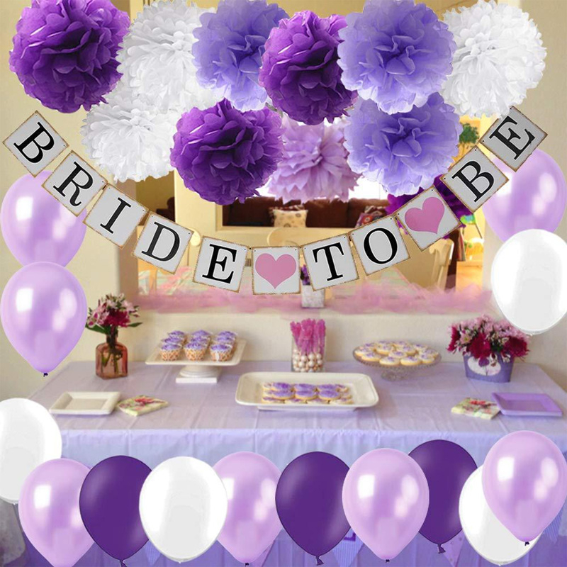Bridal To Be Wedding Party Decorations Lavender Purple Latex Balloon Banner Paper Pom-poms Flower Anniversary Supplies
