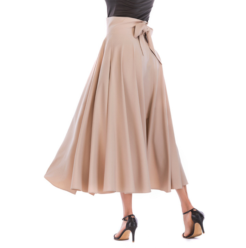2020 New Fashion  Women Long Skirt Casual Spring  Summer Skirt womens Elegant Solid Bow-knot A-line Maxi Skirt Women Cothes (4)