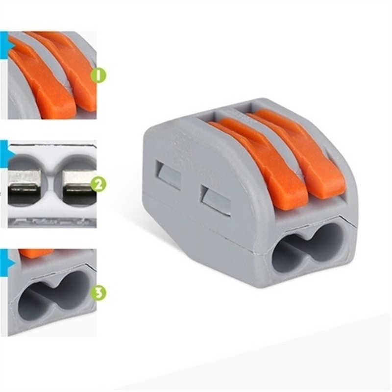 10 sztuk Quick wielokrotnego użytku blok zaciskowy elektryczny 2P kabel przewód przyłączeniowy 2Way akcesoria domowe