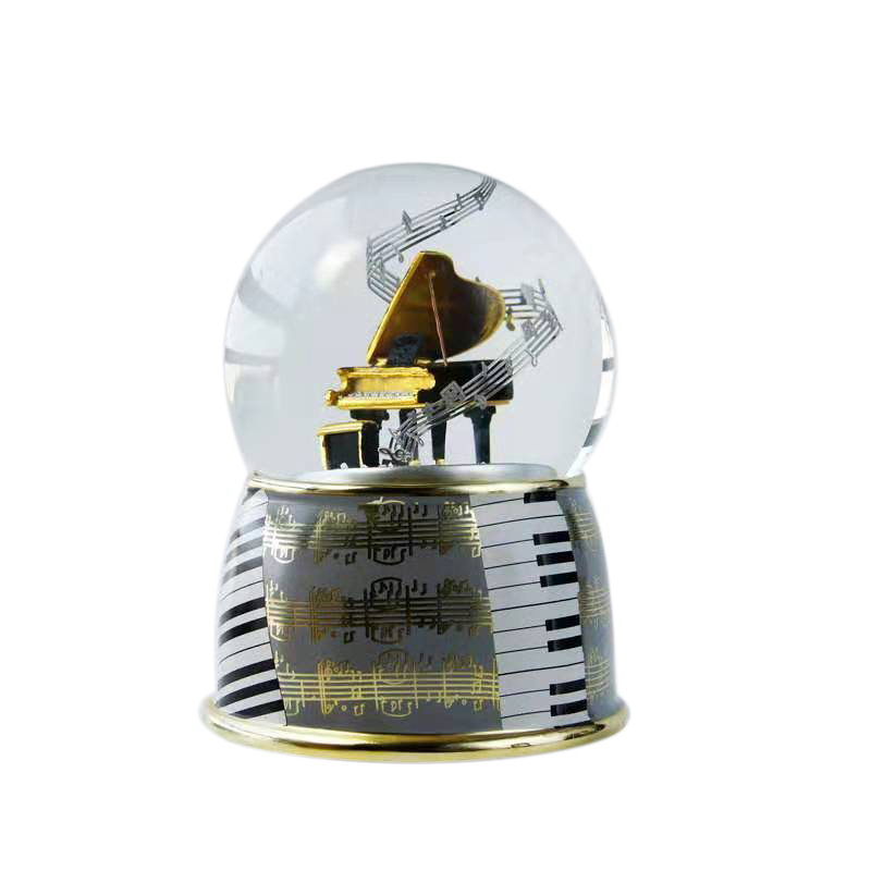 Music Box Creative Music Box Crystal Ball with Snowflake Rotating Snowball Music Box