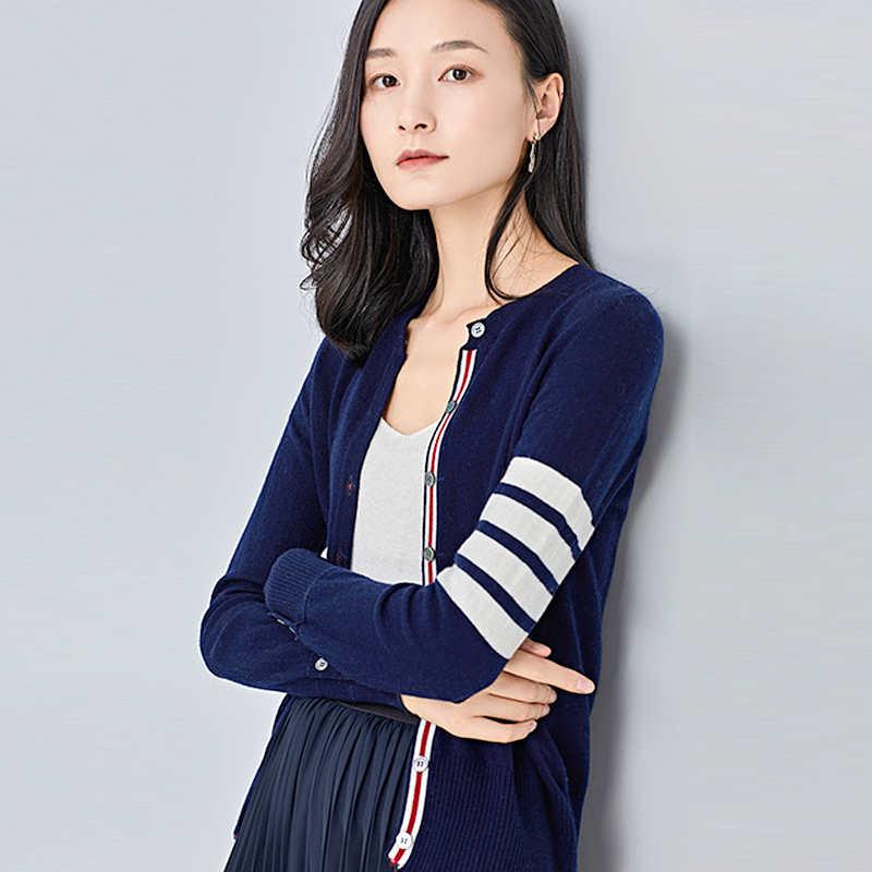 Ultimate SaleÀKnit Cardigan Colorblock Round-Neck Single-Breasted-Sleeve Striped New-Fashion 100%Cashmere