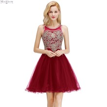 Burgundy Tulle Short Evening Dress 2019 Sexy A line Formal Party Elegant Gown Sleeveless Applique robe de soiree