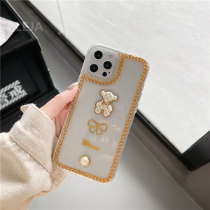 Image 2 - Luxury Glitter Pearl Case For iphone 12 mini 11 Pro Max X XR XS Max SE 2020 7 8 plus Clear Cover Cute 3d Bear Phone Cases Capa