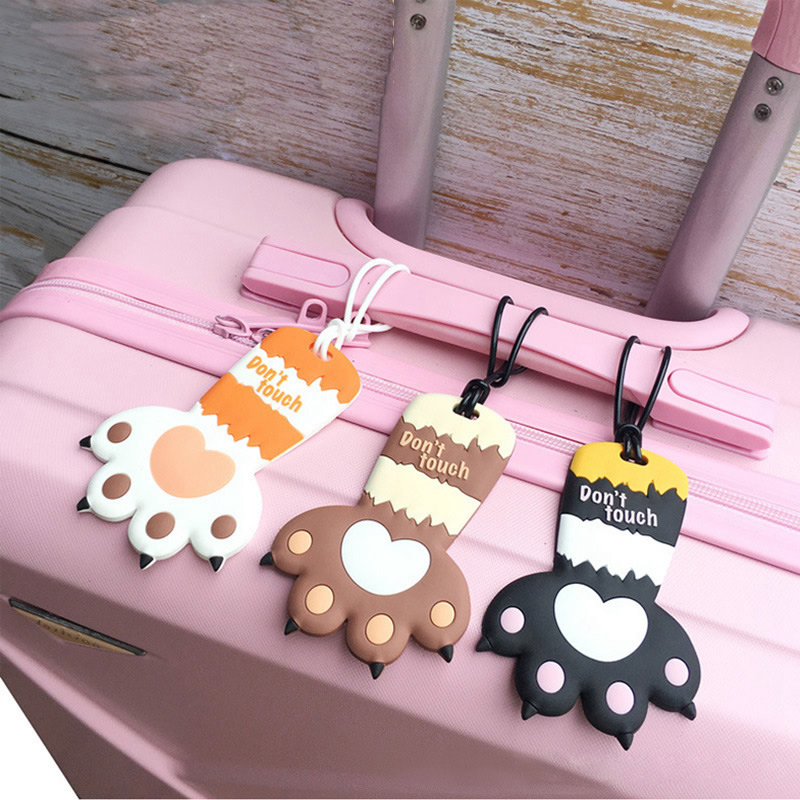 Travel Accessories Luggage Tags Cartoon Animal Cat Claw Suitcase Portable Silica Gel Holder ID Addres Label Baggage Boarding