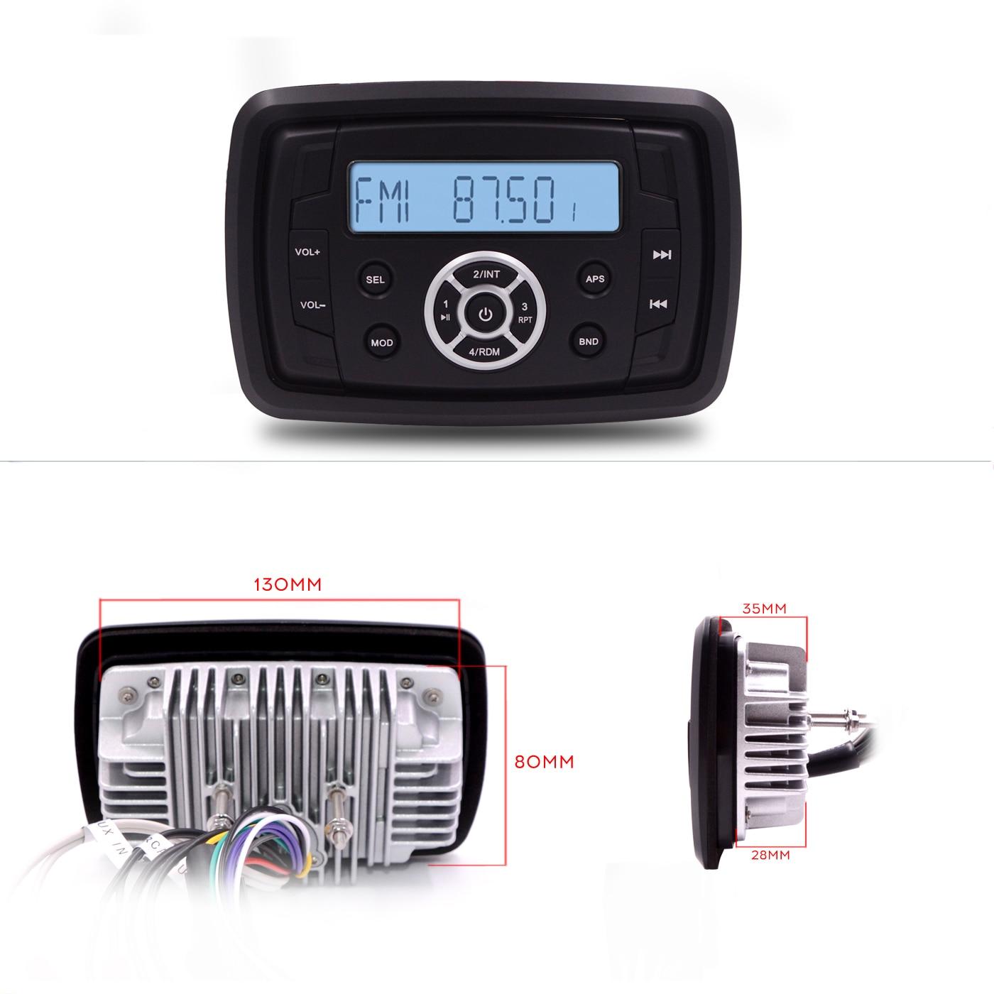 Guzare Marine moto étanche stéréo Bluetooth Radio voiture lecteur MP3 FM AM Radio étanche stéréo voiture ATV UTV bateau