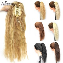 Hair-Extensions Ponytail Blonde Human-Hair Hairpiece Natural-Color Isheeny Clip-In Curly