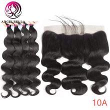 Angelbella бразильские человеческие волосы remy 3 пряди с фронтальной