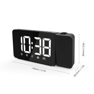 Image 5 - LED 시간 프로젝션 디지털 알람 시계 FM 라디오 스누즈 기능 테이블 시계 시간 메모리와 조절 조명 책상 시계