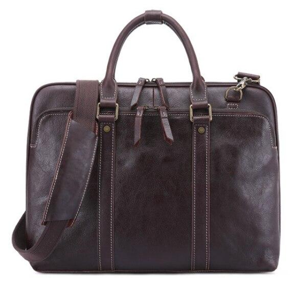 Glossy Genuine Leather Shoulder Crossbody Briefcase Retro Classic Laptop Business Bag Men Large Capacity Leisure Handbag DF103