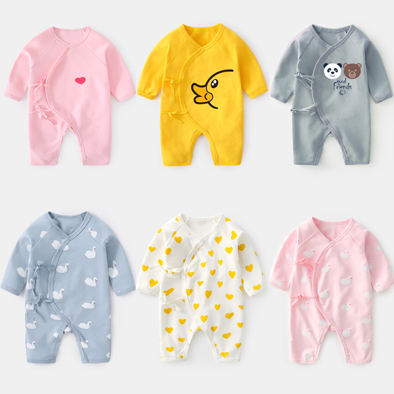 0-12 M Brand Clothing Newborn  Autumn Baby Climbing Clothes Cotton Print Baby Boys Girls Long Sleeve Rompers One-piece Clothes