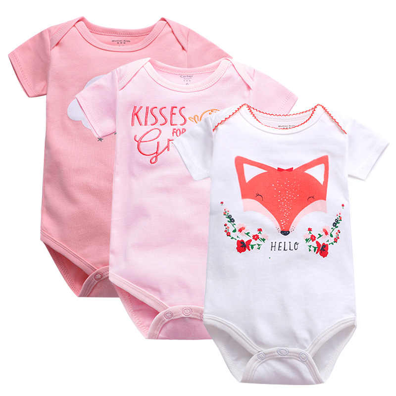 2019 100%Cotton Newborn short sleeve baby bodysuits0-24M Girl Boy clothes overalls neck baby Jumpsuit kids clothing Infant