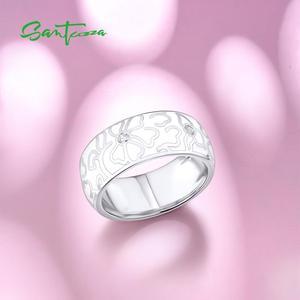 Image 4 - SANTUZZA خاتم فضة للنساء أصيلة 100% 925 فضة زهرة بيضاء خاتم أنيق مجوهرات الأزياء المينا اليدوية