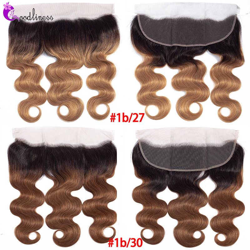 Pre oskubane 13x4 koronka Frontal zamknięcie burgundii 99J trzech ton Ombre brazylijski człowieka uzupełnienie splotu włosów Lace Closure 613 Frontal ciało fala remy włosy