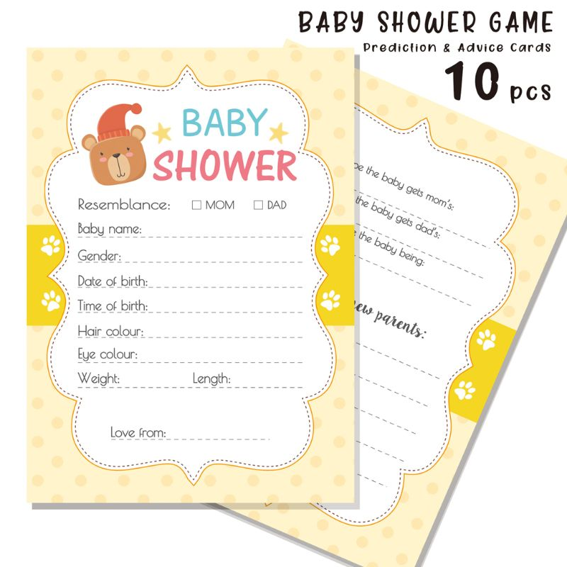10Pack Baby Predictions Advice Cards Baby Shower Games Party Activities Supplies G99C