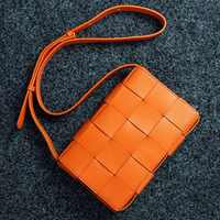 Womens Genuine Leather Handbags Crossbody Bags for Women Real Leather Knitting Messenger Bags Famous Brand Purses and Handbags