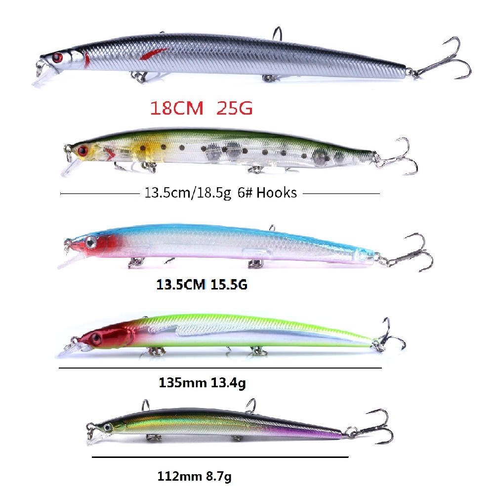 Hot Sale Model Minnow Fishing Lure Laser Hard Bait Artificial Big Long Fish Lure Sea Fishing Tackle Crankbait Wobblers Pesca