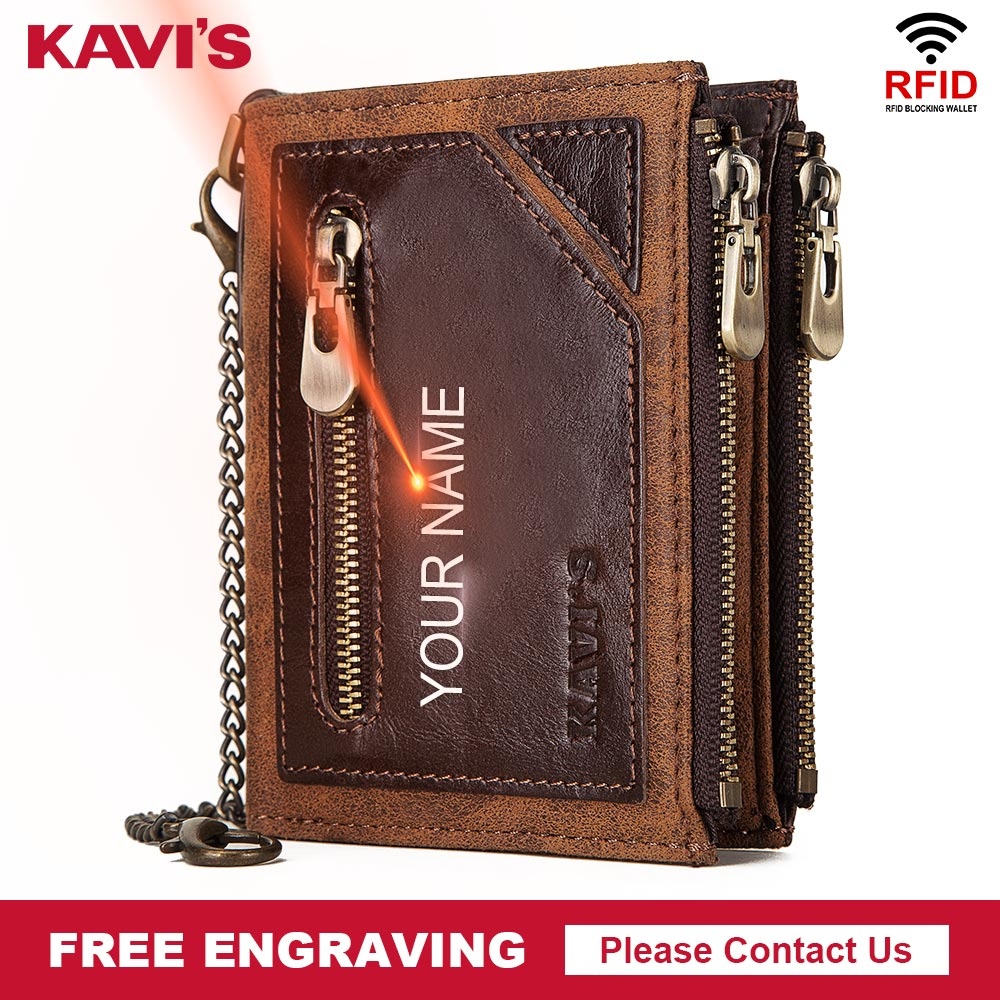 KAVIS Free Engraving Genuine Leather Wallet Men Portomonee Card Holder Coin Purse Small Male Money Bag Quality Mini Crazy Horse