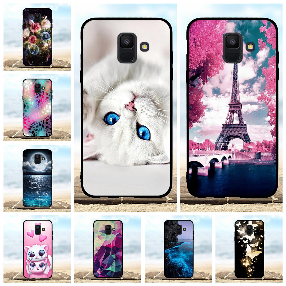For Samsung Galaxy A6 2018 Case Soft TPU Silicone Cover Cat Patterned Capa