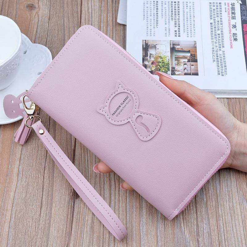 2019 Leather Wallet Women Luxury Long Clutch Ladies Purse Card Holder Tassel Women Wallets Zipper Coin Phone Money Bag Carteira