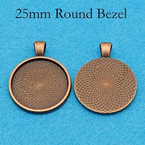Image 5 - Plateau à pendentif plaqué argent, cadre de résine à pendentif rond, cadre de Cabochon de 25mm, cadre de résine, 25mm, 100 pièces