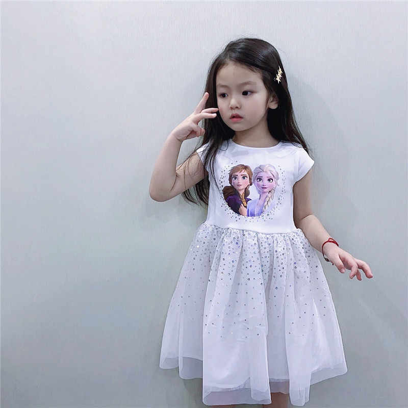 אלזה 2 תינוק בנות קיץ 2020 לבן קצר נסיכת פאייטים שמלות ילדים פעוט Cospaly שמלת טוטו יום הולדת שמלת מסיבת בגדים 3
