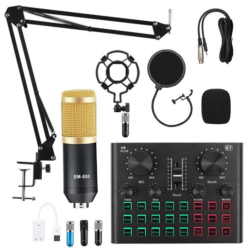 V8X профессиональный аудио микшер BM800 конденсаторный микрофон живой звук карты Bluetooth игровой пульт, USB, игровой пульт DSP Запись Профессиональн...