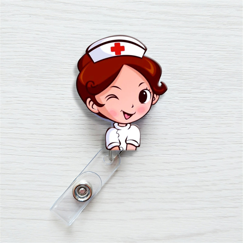 1 Pcs Cute Cartoon Mini Retractable Badge Reel Nurse Lanyards ID Name Card Badge Holder Clip Student Nurse Badge Holder Office