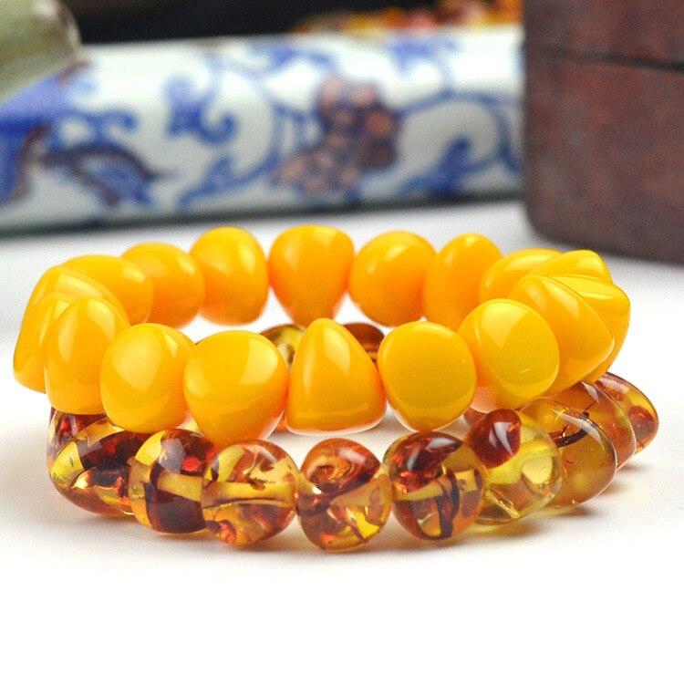 Fashion Chinese 15*13mm Yellow Beeswax Beads Amber Elastic Bracelet Men Women Mala Meditation Jewelry Luck Gifts New