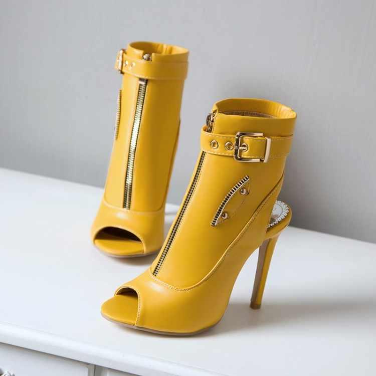 Kadın sandalet 2020 fermuar yüksek topuklu sandalet kadın Stilettos toka kadın ayakkabı topuk yaz ayakkabı kadın botları kırmızı siyah beyaz