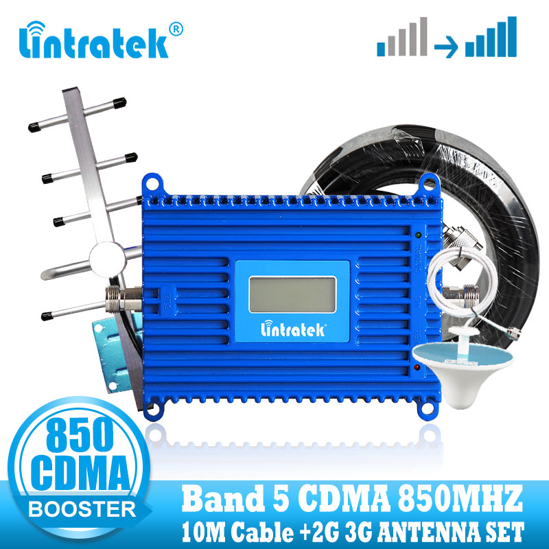 Lintratek GSM CDMA 850Mhz 3G Signal Booster Repeater Celluar Mobile Phone CDMA 850 Signal Amplifier Booster +Yagi Antenna Band 5