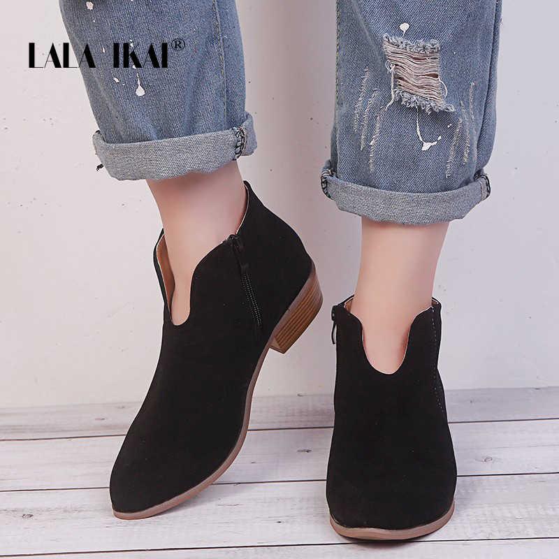 LALA IKAI Kadın Leopar yarım çizmeler 2019 Sonbahar Fermuar Rahat kısa çizmeler Kadın Akın Sivri Burun Kare Topuklu Ayakkabılar XWC5388-4