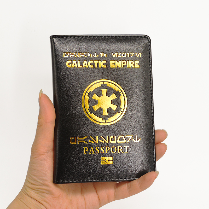 New Logo Galactic Empire Passport Cover Black Pu Leather Covers For Passports Travel Wallet Document Organizer Passport Holder