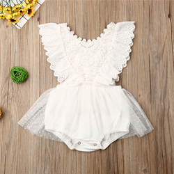 2019 Summer Newborn Baby Girl Clothes Sleeveless Solid Color White Lace Flower Ruffle Romper One-piece Outfit Sunsuit