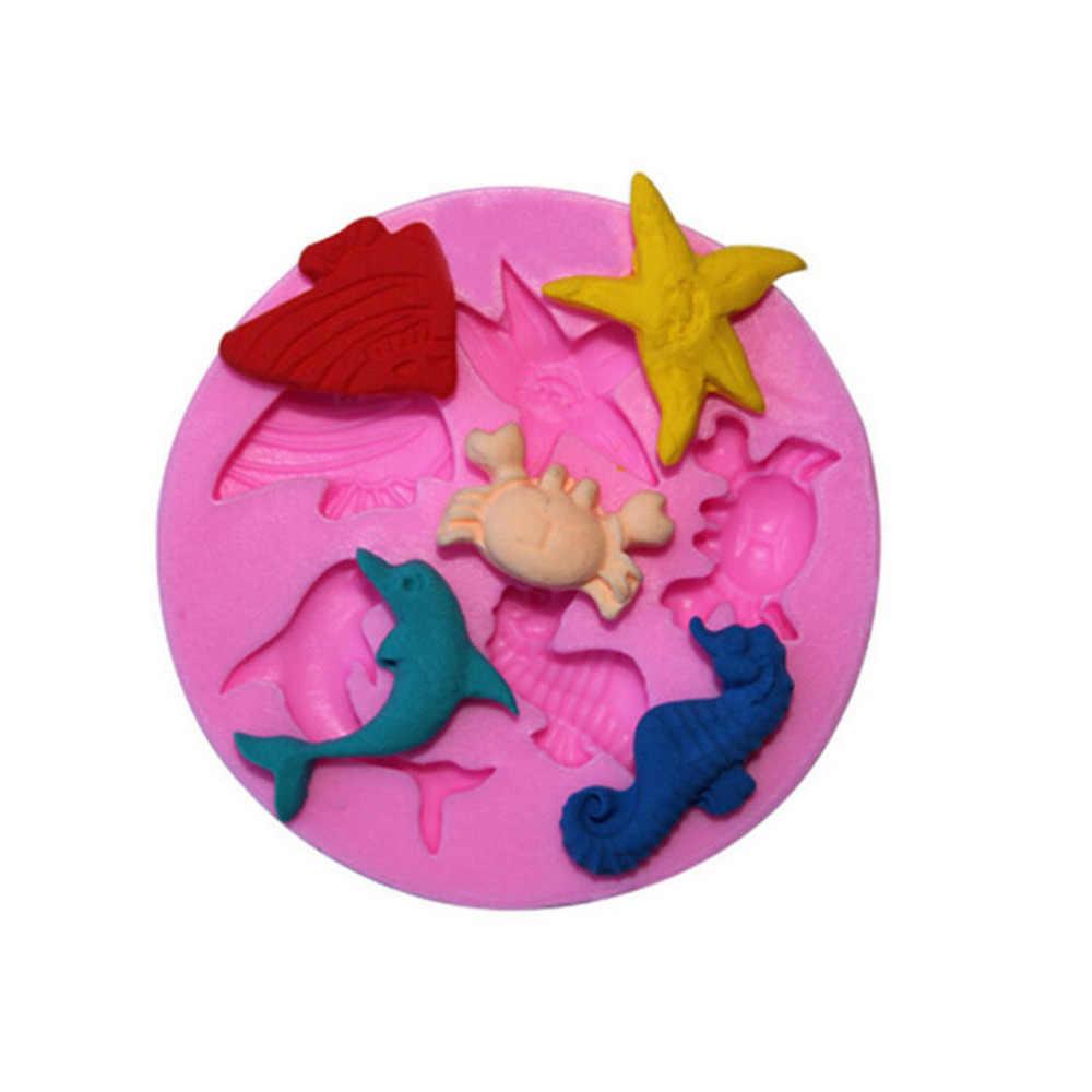 1PC Kleine Formaat Siliconen Cake Sugarcraft Mold Fondant Zeep Chocolade Mallen Zee Strand Fish Zeester Dolfijn Krab Mold Cake gereedschap