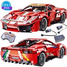 Criativo carro de corrida série controle remoto veículo vermelho modelo bloco construção crianças diy educação brinquedos presentes aniversário para meninos