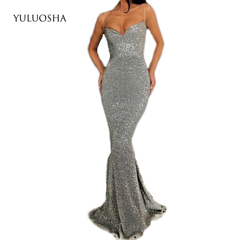 YULUOSHA Evening Dress 2020 Sexy V-Neck Sleeveless Evening Party Prom Formal Gowns Long Sequin Dresses Vestidos Robe De Soiree