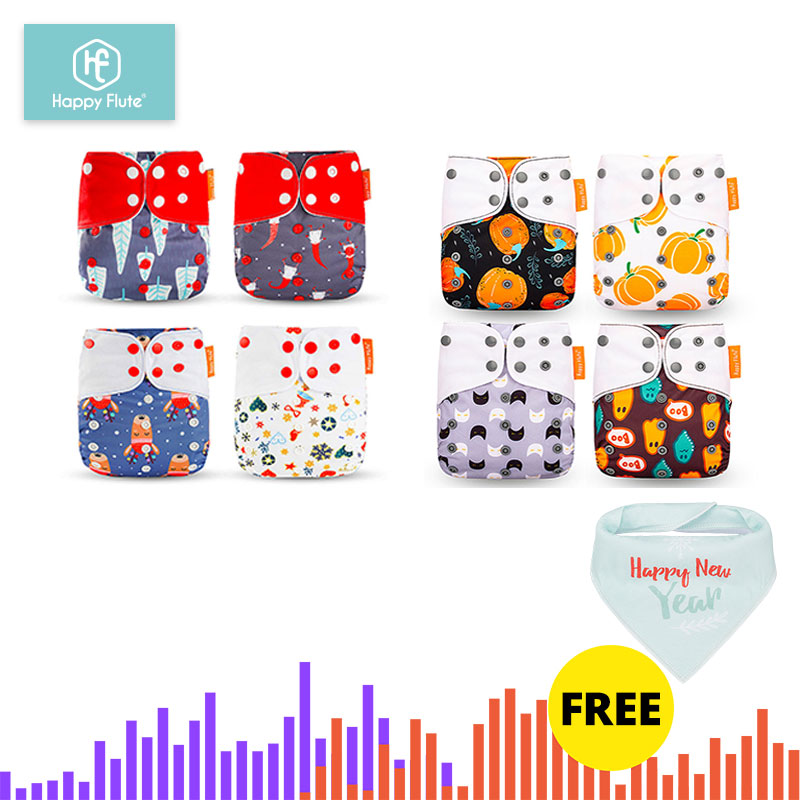 HappyFlute 8 Diapers+8 Inserts  Baby Cloth Diapers One Size Adjustable Washable Reusable Cloth Nappy For Baby Girls And Boys