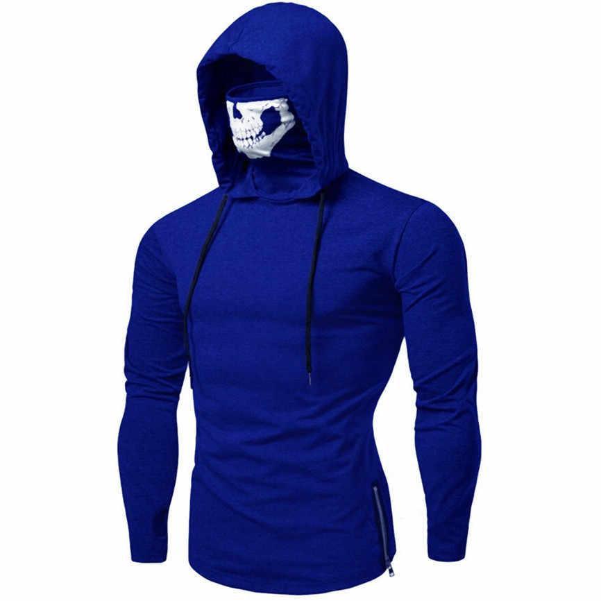 บุรุษเสื้อผ้า Hoodies หน้ากาก Skull PURE สี Pullover แขนยาว Hooded Sweatshirt เสื้อ Sudadera Harajuku